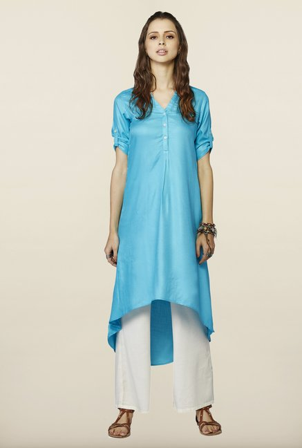Global Desi Turquoise Solid Tunic