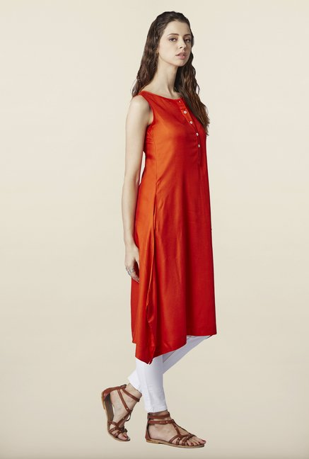 Global Desi Orange Solid Tunic