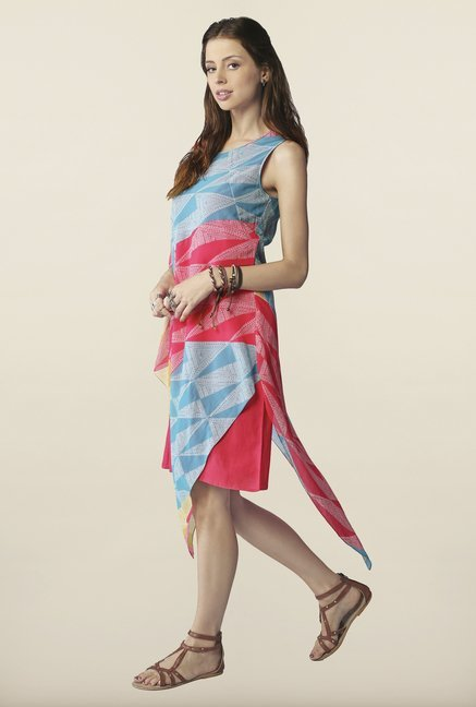 Global Desi Coral & Blue Asymmetric Dress