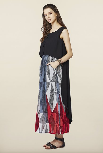 Global Desi Black Sleeveless Maxi Dress
