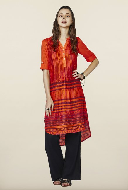 Global Desi Orange Printed Kurti