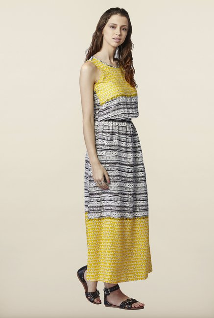 Global Desi Yellow & Black Printed Maxi Dress