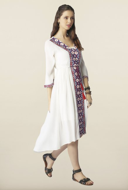 Global Desi White Embroidered Dress