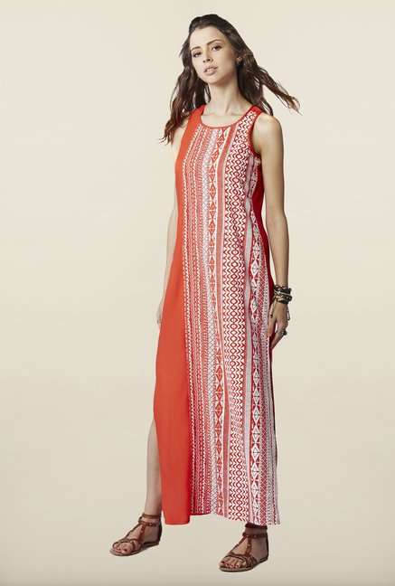 Global Desi Orange Maxi Dress