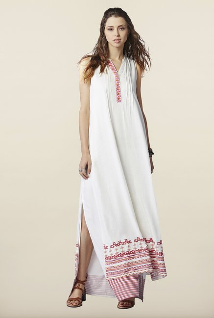 Global Desi Cream Solid Maxi Dress