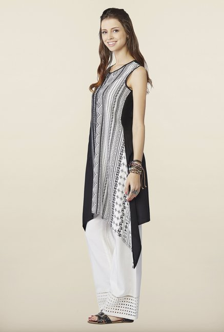 Global Desi Black & White Printed Tunic