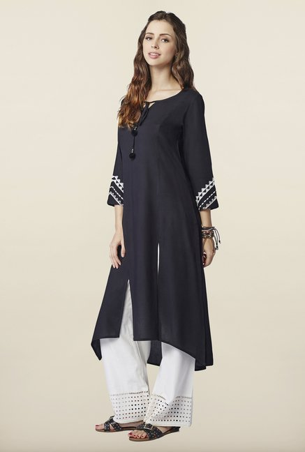Global Desi Black Solid Kurti
