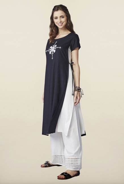 Global Desi Black Embroidered Kurti