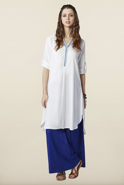 Global Desi White Solid Tunic