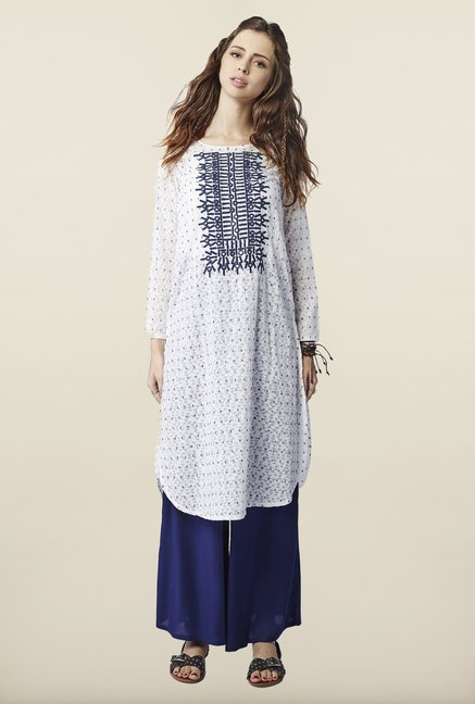 Global Desi White Embroidered Kurti