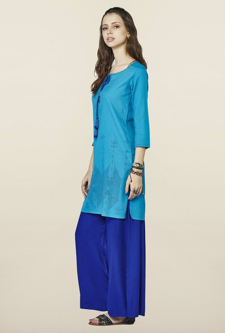 Global Desi Aqua Printed Tunic