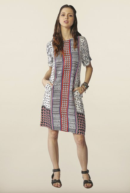 Global Desi White Printed Tunic