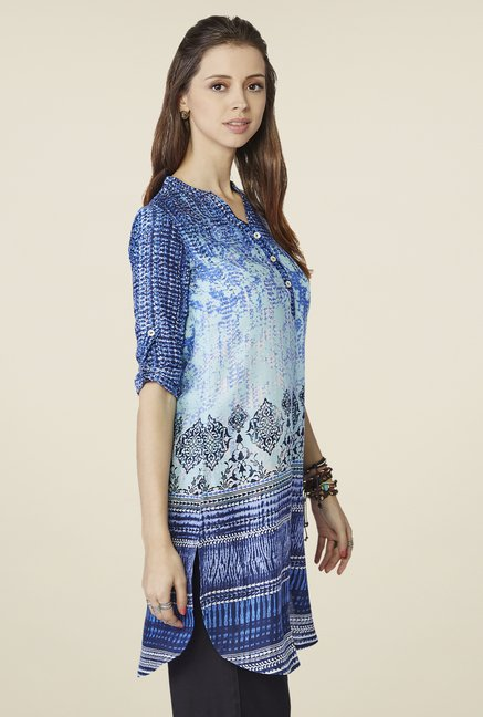 Global Desi Blue Floral Printed Tunic