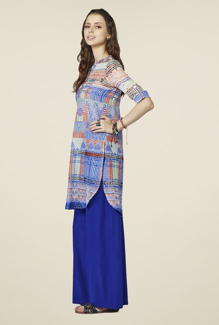 Global Desi Blue Regular Fit Tunic