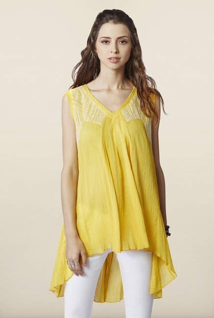 Global Desi Yellow Embroidered Tunic