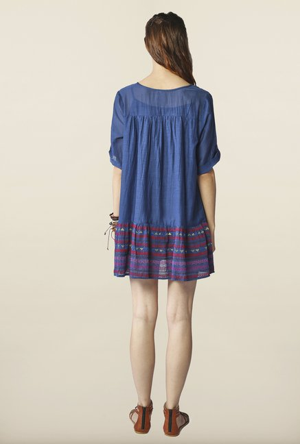 Global Desi Indigo Embroidered Tunic