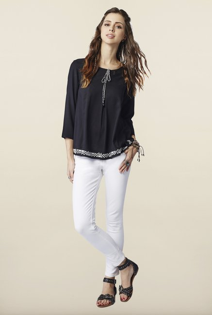 Global Desi Black Regular Fit Top