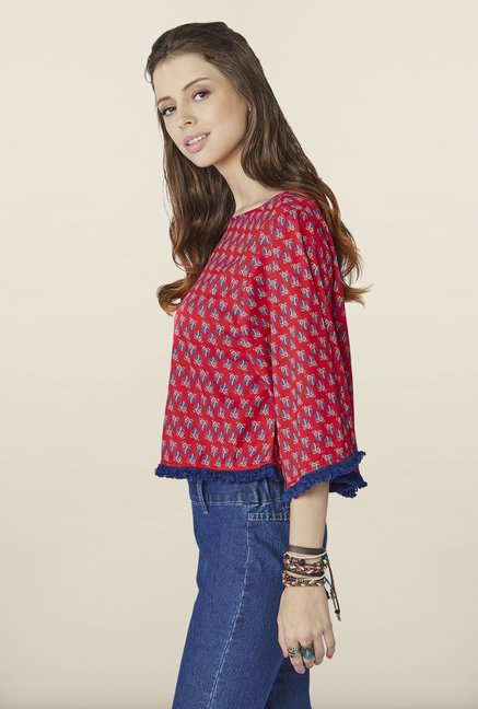 Global Desi Red Floral Printed Top
