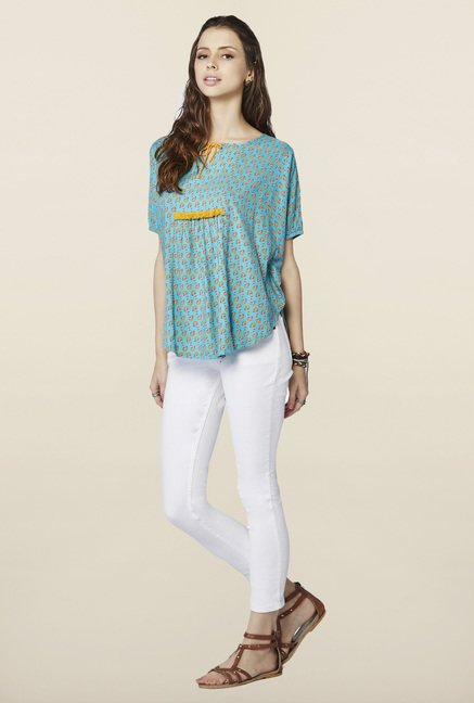 Global Desi Aqua Floral Printed Top