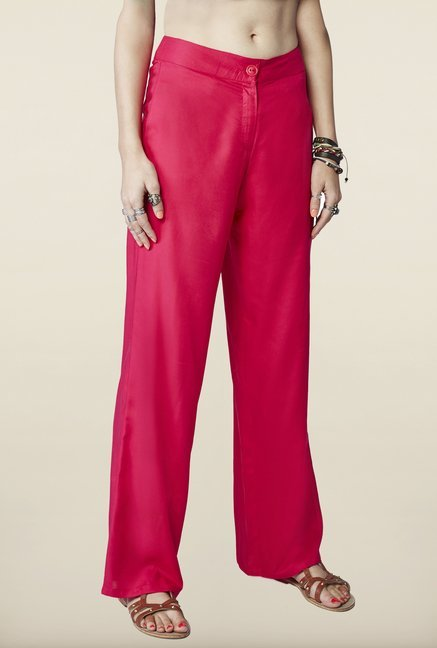 Global Desi Hot Pink Solid Trousers