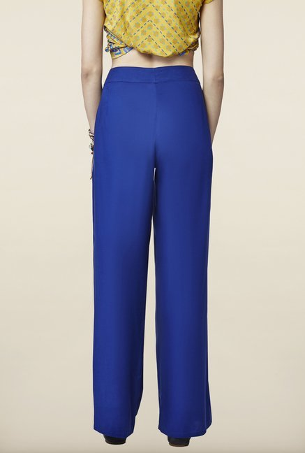 Global Desi Blue Solid Trousers