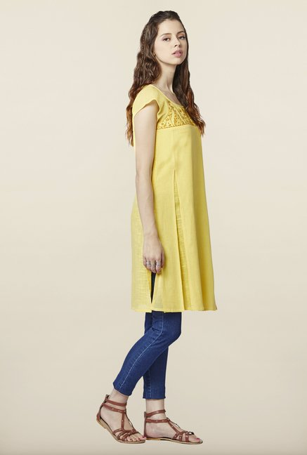 Global Desi Yellow Embroidered Cotton Tunic