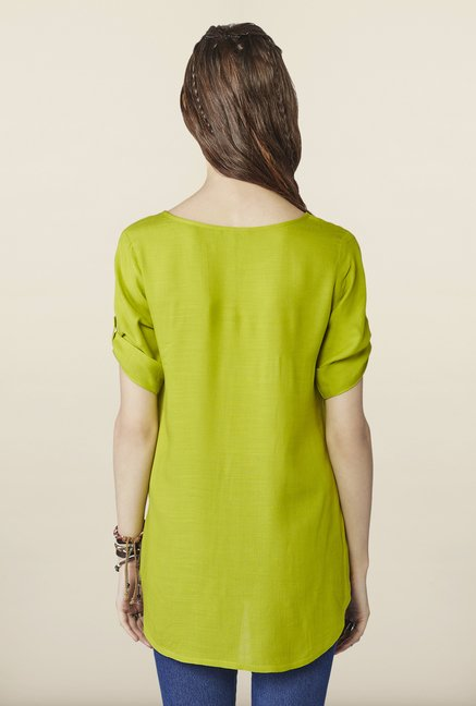 Global Desi Green Printed Top