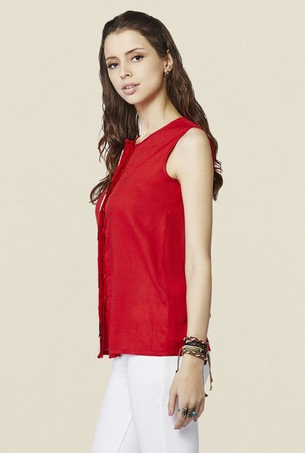 Global Desi Red Solid Top