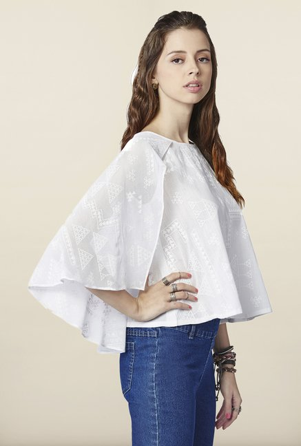 Global Desi White Tribal Printed Caped Top