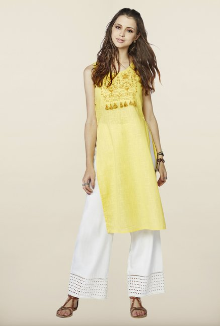 Global Desi Yellow Cotton Kurti