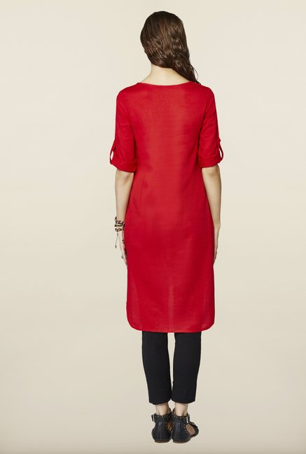 Global Desi Red Solid Tunic