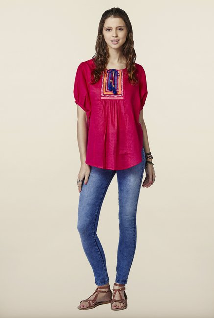 Global Desi Hot Pink Solid Top