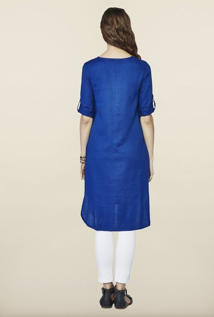 Global Desi Blue Solid Tunic