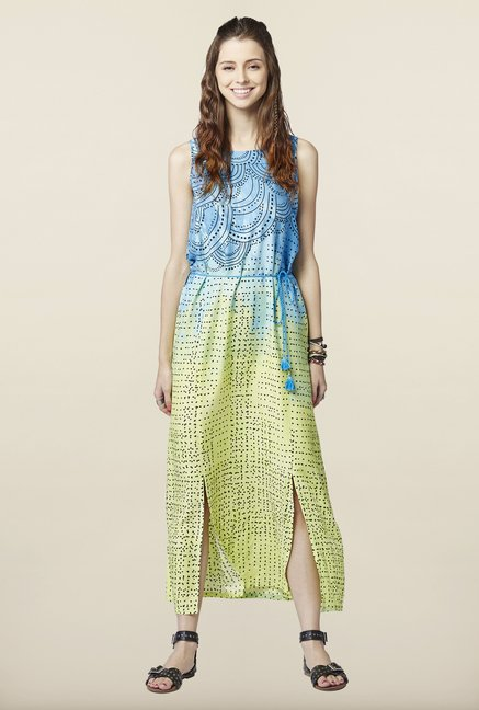 Global Desi Blue & Lime Maxi Dress
