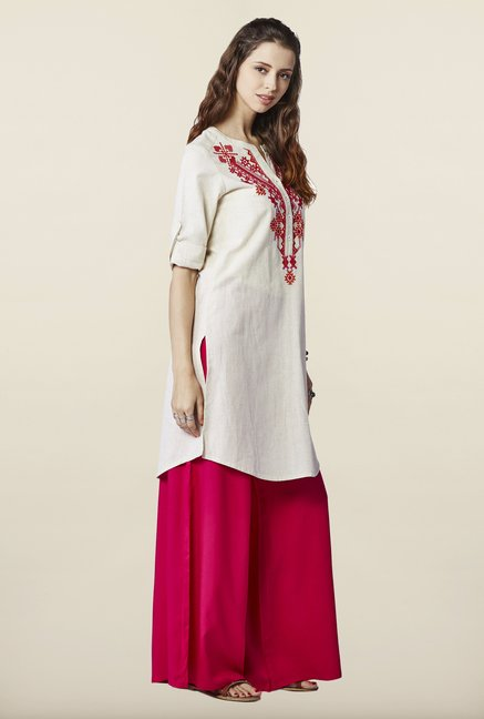 Global Desi Cream Embroidered Tunic