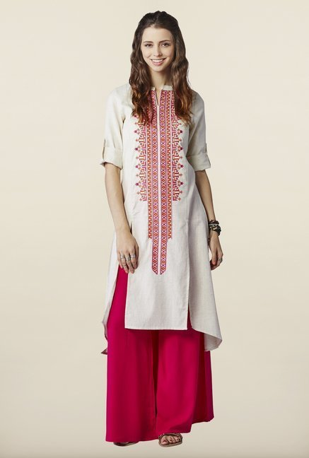 Global Desi Cream Embroidered Kurti