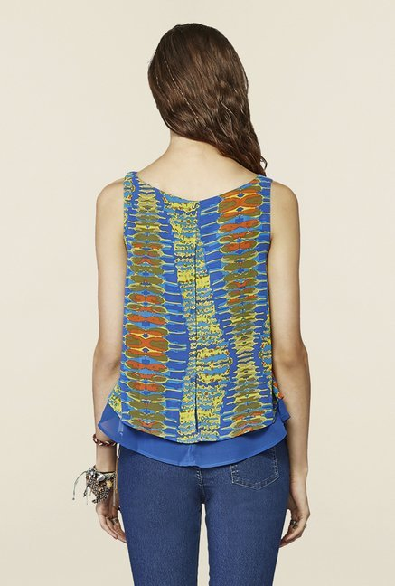Global Desi Blue Printed Top