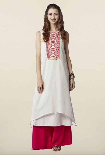 Global Desi Cream Embroidered Cotton Kurta
