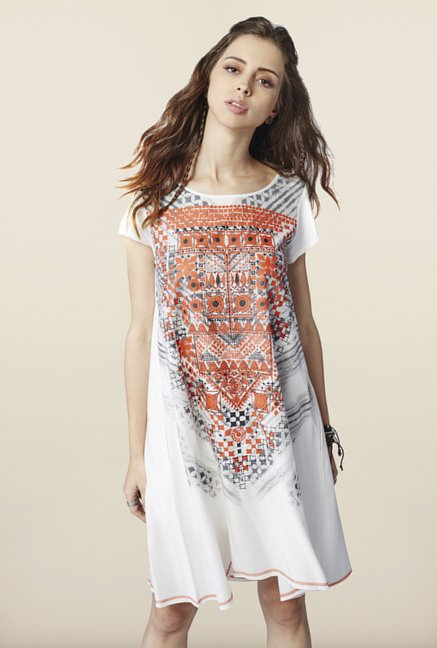 Global Desi White Shift Dress