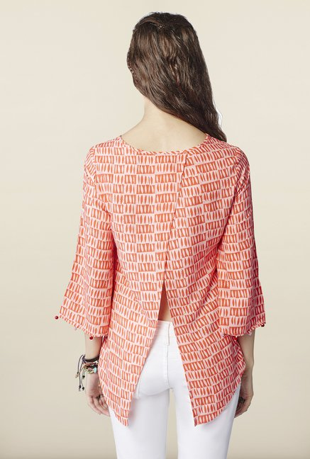 Global Desi Orange Printed Top