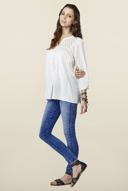 Global Desi Off White Solid Button Down Top