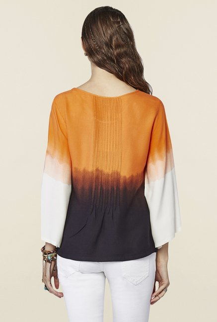 Global Desi Orange Ombre Top