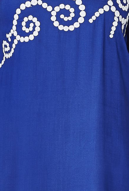 Global Desi Blue Embroidered kurti