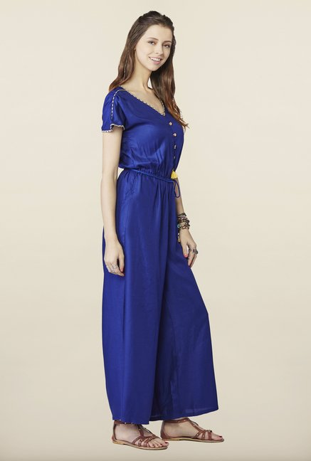 Global Desi Royal Blue Solid Jumpsuit