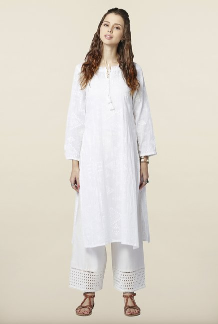 Global Desi White Printed Kurta