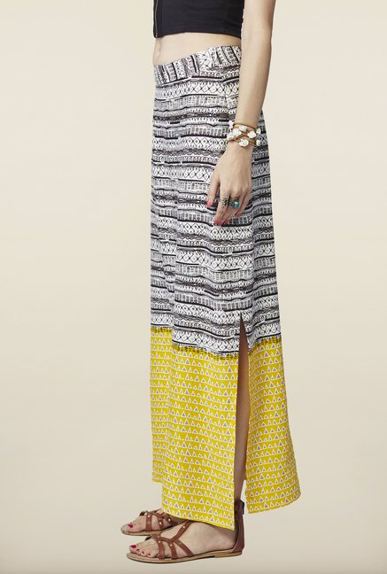 Global Desi Black & Yellow Printed Skirt