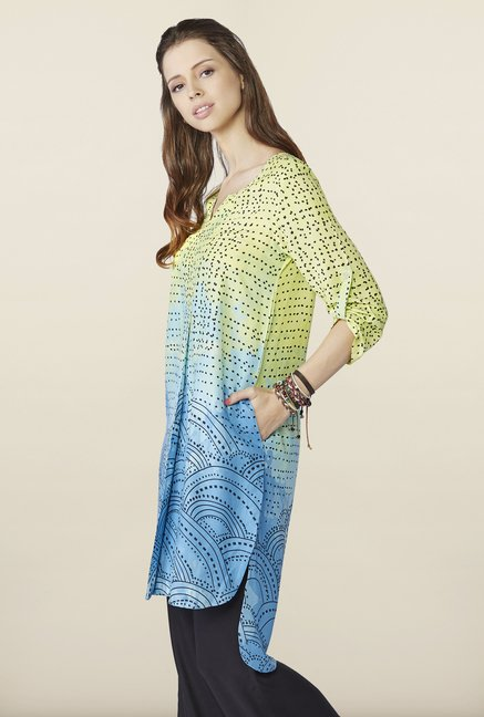 Global Desi Blue & Yellow Printed Kurti