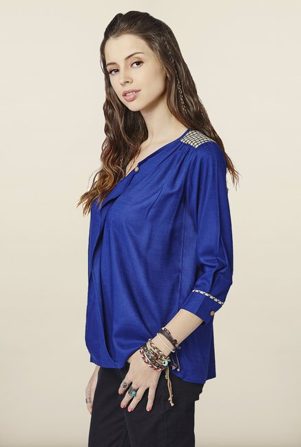 Global Desi Blue Solid Top