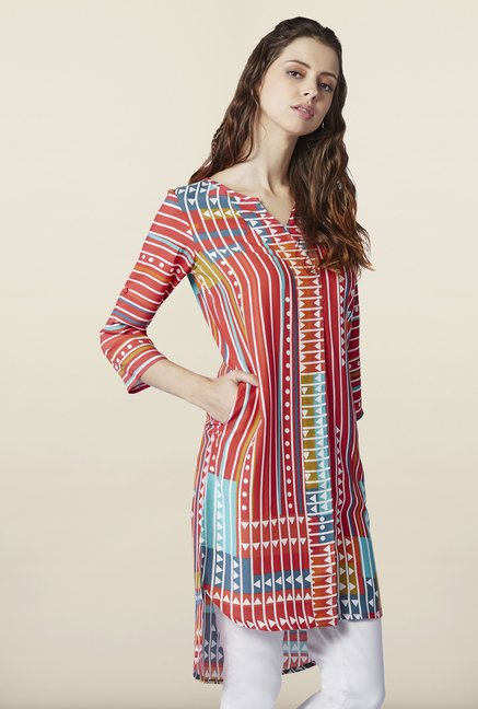 Global Desi Coral High Low Kurti