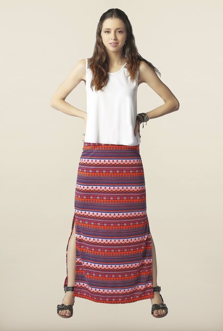 Global Desi Multicolor Printed Side Slit Skirt
